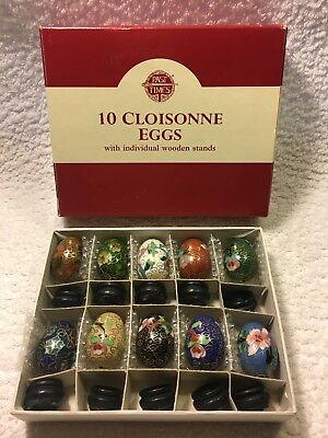 Past Times 10 hand painted metal Cloisonne Eggs with individual wooden stands