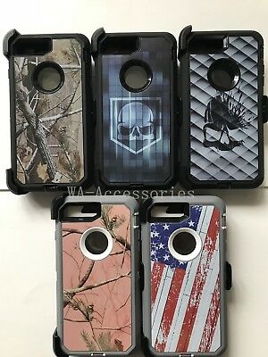 For iPhone 7 Plus & iPhone 8 Plus Camo Case (Belt Clip fits Otterbox Defender)