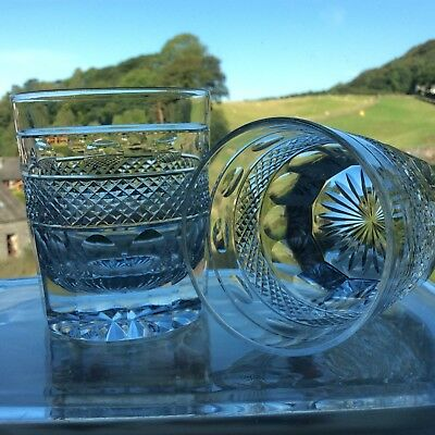 2 Cumbria Crystal Grasmere Hand Cut Old Fashioned Whisky Tumblers Georgian Style