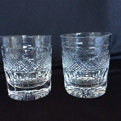 2 Cumbria Crystal Grasmere Hand Cut Old Fashioned Whisky Tumblers ~ James Bond