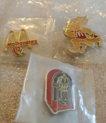 Lot of 3 Mixed McDonald's 1980's to 1990's Collectible Lapel Pins(T)