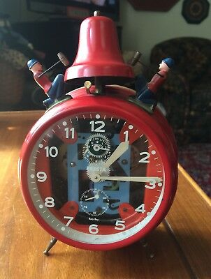 Rare Working Vintage Red Presta Germany Busy Boy Bell Wind Up Alarm Clock Red