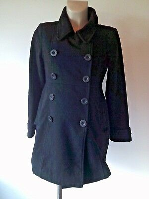 Jojo Maman Bebe Maternity Black Wool Blend Double Breasted Jacket Coat Size 8