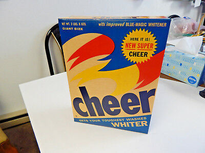VINTAGE ANTIQUE BLUE CHEER LAUNDRY DETERGENT SOAP BOX 60s UNOPENED NOS MINT OLD