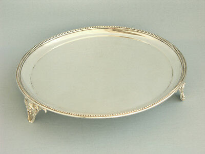Rundes Tablett, Massiv Sterlingsilber, London 1882, Salver, Charles Boyton