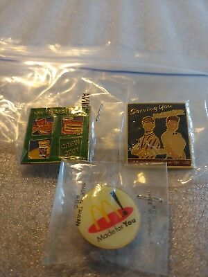 Lot of 3 Mixed McDonald's 1980's to 1990's Collectible Lapel Pins(U)