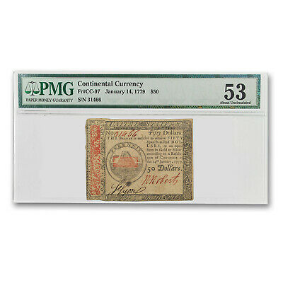 1779 $50 Continental Currency 1/14/79 AU-53 PMG - SKU#173402