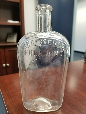 Clear Glass Flask Registered Full Pint with Indented Circle