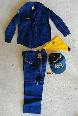 Vintage 1960's Cub Boy Scout Uniform Wolf Shirt w/ patches Belt Scarf Slide Hat