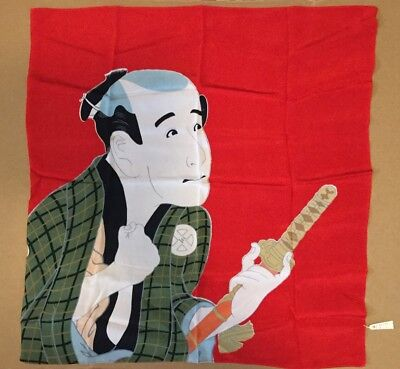 "Vintage Scarf Banner Kabuki Noh Theater Actor W/sword Silk Screen Crepe 27"" X27"""