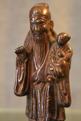 Sculpture the old man Sage bronze Far East China