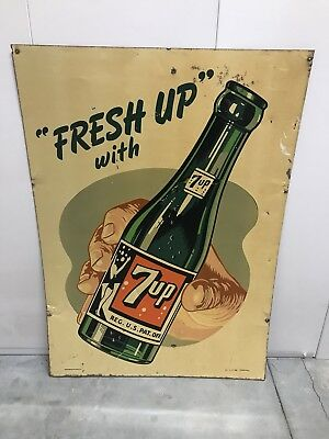 "Rare 1948 ""Fresh Up with 7-up"" metal sign, great graphics and all original!!"