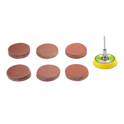 60 Sanding Disc Sandpaper Hook Loop 100-2000 Grit Backer Pad Drill Adapter BI985