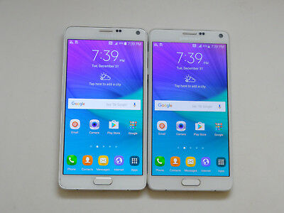 Lot of 2 Samsung Galaxy Note 4 White T-Mobile & GSM Unlocked Smartphones AS-IS !