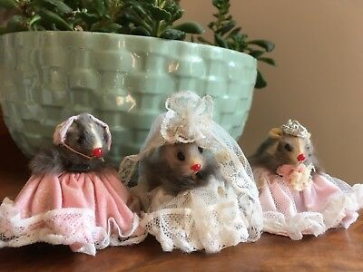 Vintage real fur mice, Little Mouse House