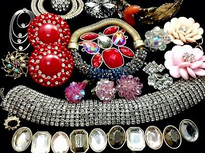 Large Lot Of Vintage~Retro Rhinestone, Crystal.. Jewelry For Repair/parts (E347)