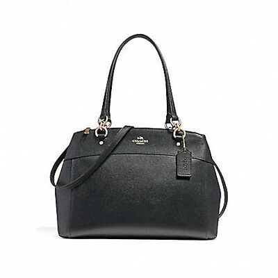 New Coach (F25926) Large Brooke Carryall Black Crossgrain Leather Bag Handbag
