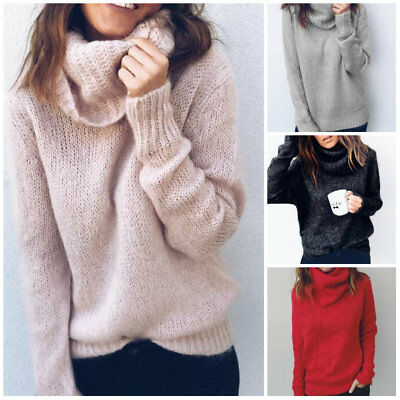 US Women Winter Warm Turtleneck Sweater Pullover Knitted Tops Cardigan Sweater