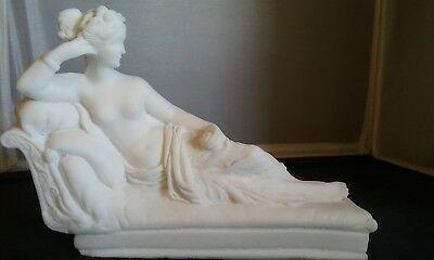 Antique Stye Roman Goddess Venus Nude Sculpture Statue Reclining In Victory