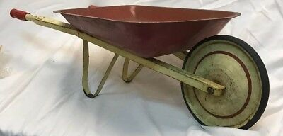 Vintage Rustic CHILDS WHEELBARROW metal country farm garden decor toy small red