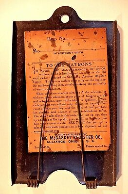 Vintage Metal SALES REC'T The McCaskey Register Co Bill Receipt Wall Clip Holder