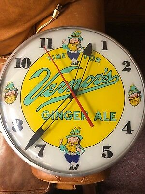 """1950s 15"""" Round VERNORS GINGER ALE Light Up Clock"""