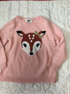 OLD NAVY 3T Woodland Deer Pink Pullover Sweater 3T