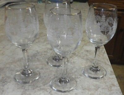 """Vintage1980's Arby's Chrustmas white Christmas pines - 4- 8.5"""" wine glasses"""