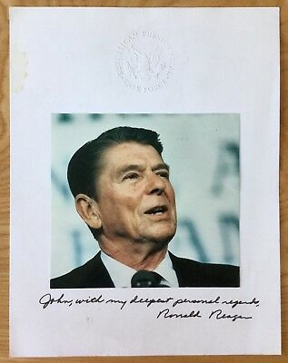 RONALD REAGAN Signed REPUBLICAN PRESIDENTIAL TASK FORCE PAGE President AUTOGRAPH