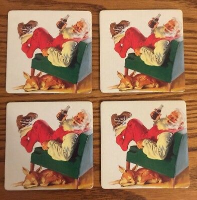 SET of 4 COCA-COLA COKE 2000 Cork Board CHRISTMAS COASTERS