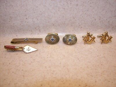 Vintage Assorted Freemason Masonic CuffLinks and Tie Clips (RARE TROWEL)