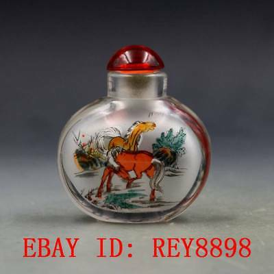 Antique Chinese Glass Internal Hand-painted Horse Snuff Bottles N46