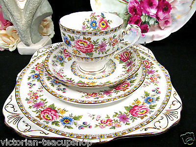 Royal Grafton Tea Cup And Saucer Trio & Cake Plate Malvern Pattern Floral