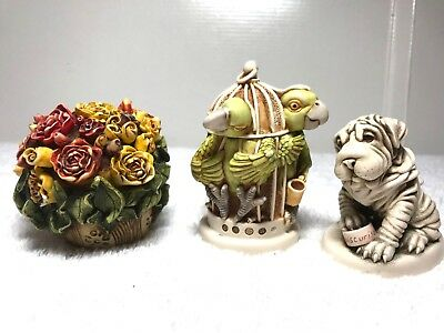 3 Harmony Kingdom Figurines Moiscurise, Great Escape, Lord Byron's Rose Bud