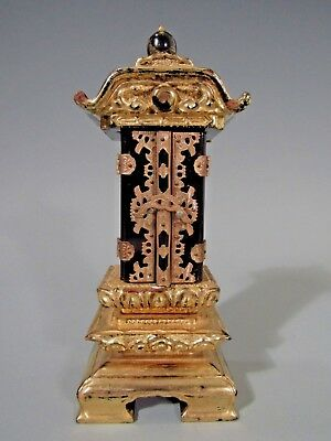 Fine Old Japan Japanese carved Gilt Wood and Black Lacquer Zushi case ca. 20th c