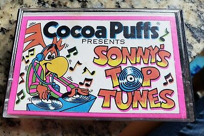 RARE Cocoa Puffs Cereal Sonny's Top Tunes Cassette Tape 1989 Warner 6 artists