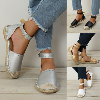 ESPADRILLES Womens Rivet Ankle Strap Studded Sandals Casual Flats Shoes Size US