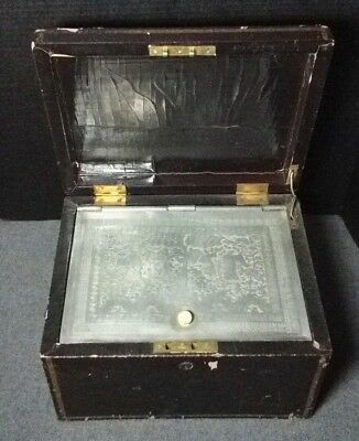 19th Century Chinese Tea Canister Box with Lead Liner W/ Bone Knob Engraved lg.
