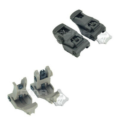 Tactical Polymer Folding 711 Set Arms Front & Rear Flip-up Back-up Sites Sights