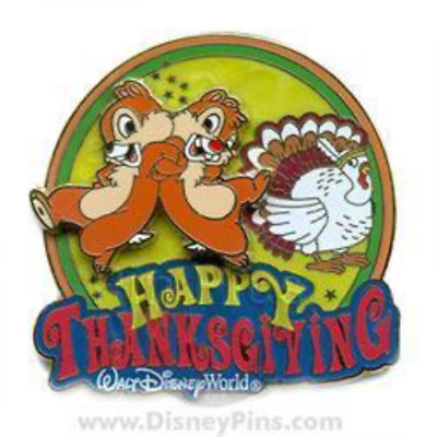 Disney Pin 57653 WDW Happy Thanksgiving Chip 'n Dale LE 1000 Turkey Feather *