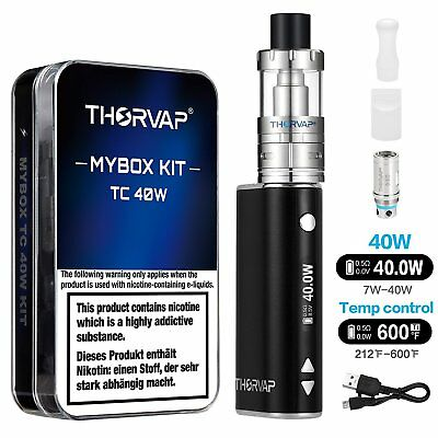 E Zigarette Starter Set, THORVAP 40W 2200mAh Akku Box Mod kit, 0.5ohm/2.0ml