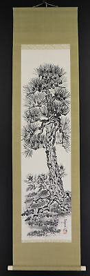 """JAPANESE HANGING SCROLL ART Painting """"Pinetree"""" Asian antique  #E3903"""