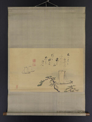 """JAPANESE HANGING SCROLL ART Painting Scenery """"Ship"""" Asian antique  #E3904"""
