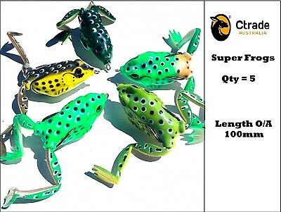 5 Large 100mm Popper Soft Frog Fishing Lure Surface Barra Lure Cod Trout Bass