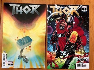 THOR #5 Ribic Main Cover + Lupacchino Cosmic Ghost Rider Variant 2018 NM+ 9/19