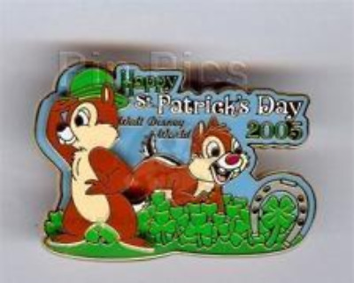 Disney Pin 37307 WDW St. Patrick's Day 2005 Chip 'n' Dale LE Four Leaf Clover *
