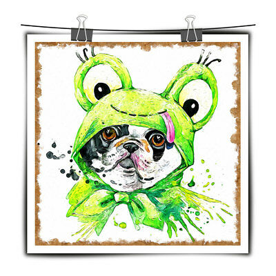 Canvas Art HD Prints Watercolor Painting French Bulldog for Hallway Wall Decor