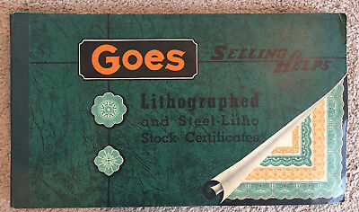 Goes stock certificate selling helps > lithographed steel litho book ~100 certs