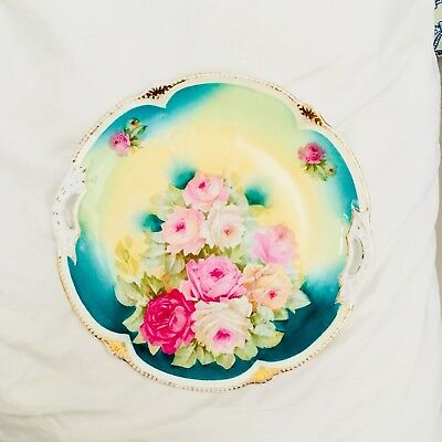 Antique Floral Plate Roses Shabby Chic