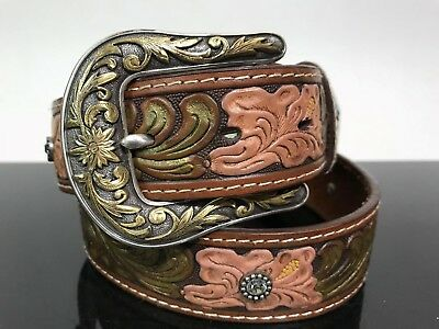 Ladies Leather Country Western Cowgirl Floral Embossed Rhinestone Belt Sz Small